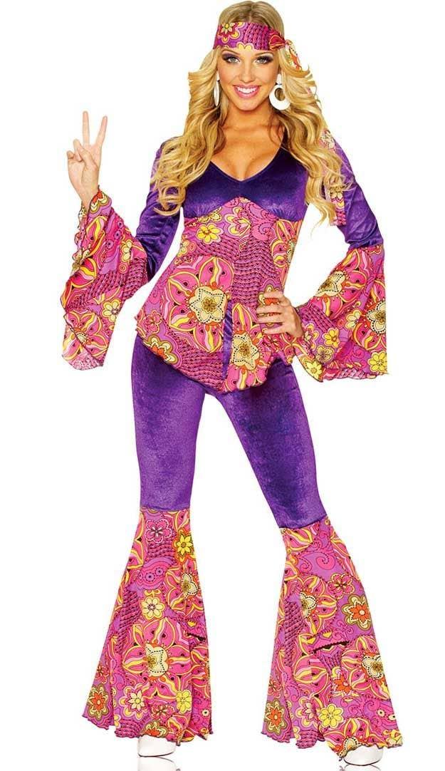 cc2258e46b0 Flower Power Hippie Women s 1960 s Costume Front View
