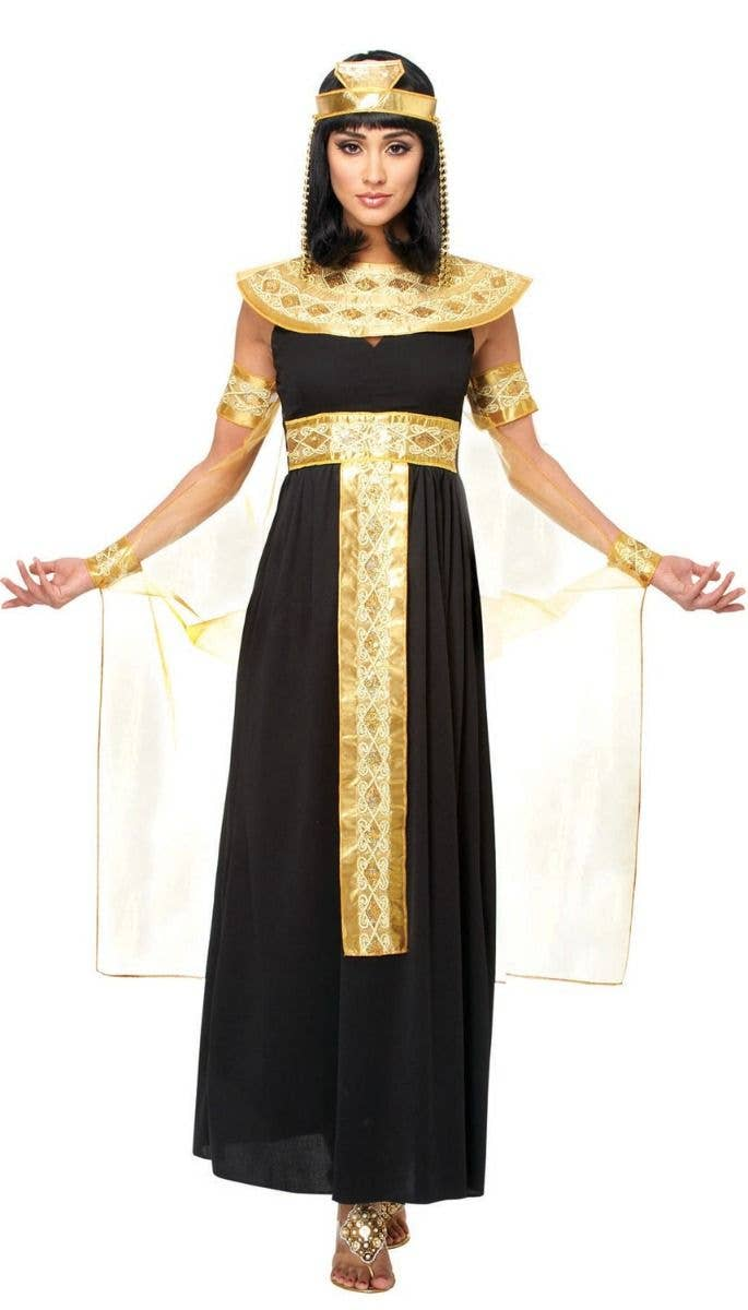 d50a61b11eb Deluxe Women s Black and Gold Queen Cleopatra Fancy Dress Costume Main Image