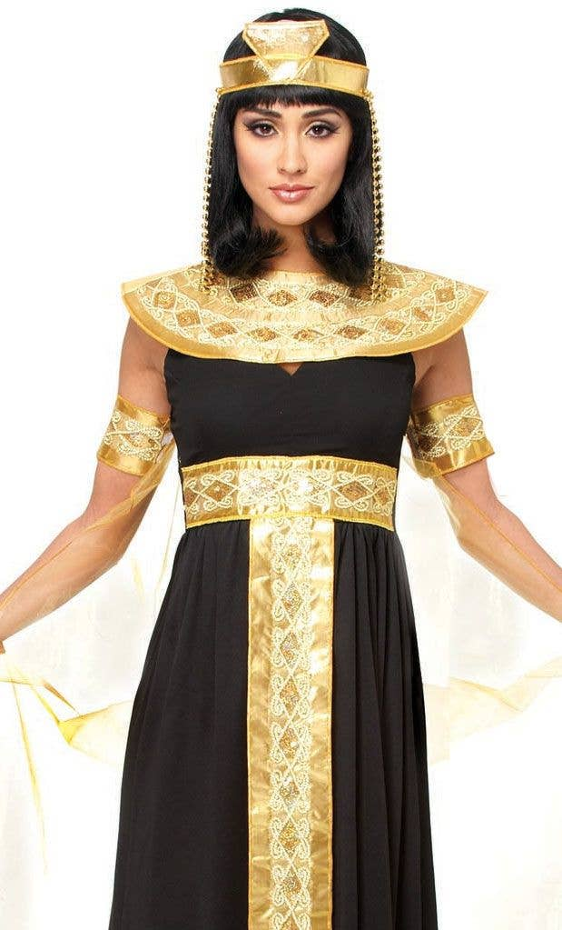 b0ee5c41d05 Deluxe Women s Black and Gold Queen Cleopatra Fancy Dress Costume Close  Image