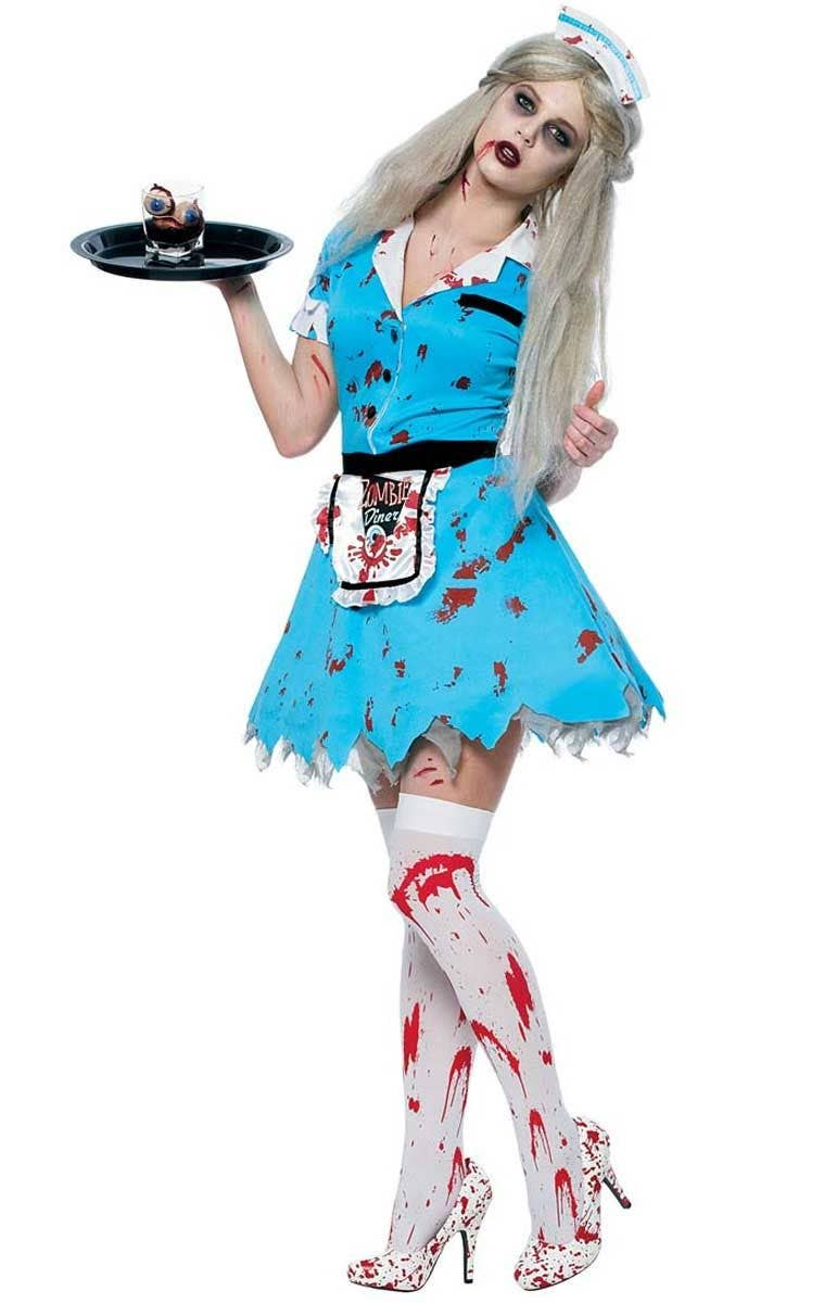Halloween Zombie Costumes For Girls.Bloody Service Women S Zombie Diner Girl Costume