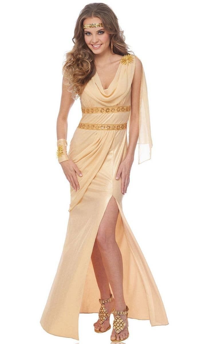 809344e3 Women's Sexy Golden Goddess Of The Sun Fancy Dress Costume Main Image