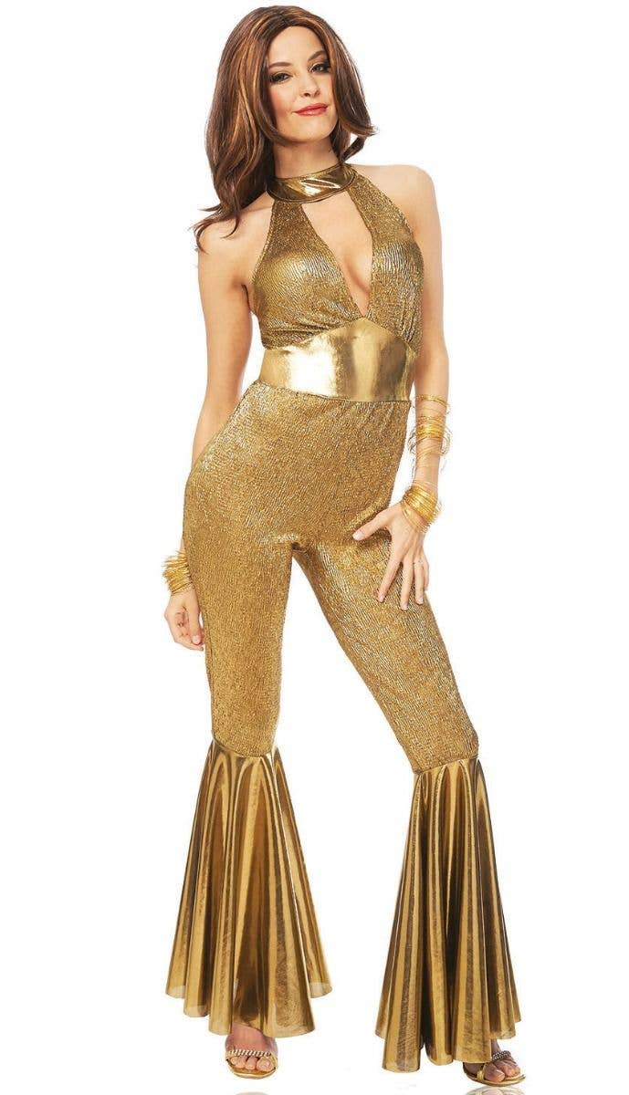 0d5137f2ee8b Women s Disco Diva Gold 1970 s Jumpsuit Fancy Dress Costume Main Image