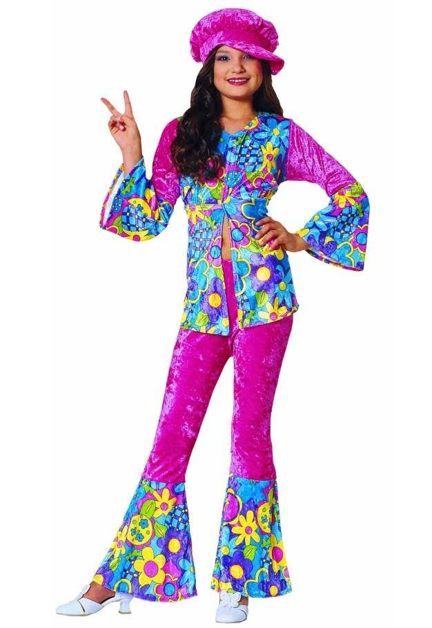 Girls 1960 s Hippie Fancy Dress Costume Main Image 7a2a8b2200b