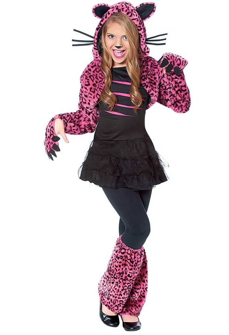 black and pink cat girls costume | girls pink leopard costume