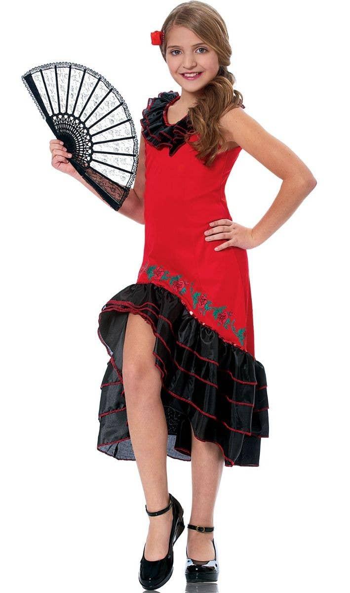 86691ebd5 Girls Red and Black Spanish Flamenco Dancer Fancy Dress Costume Main Image