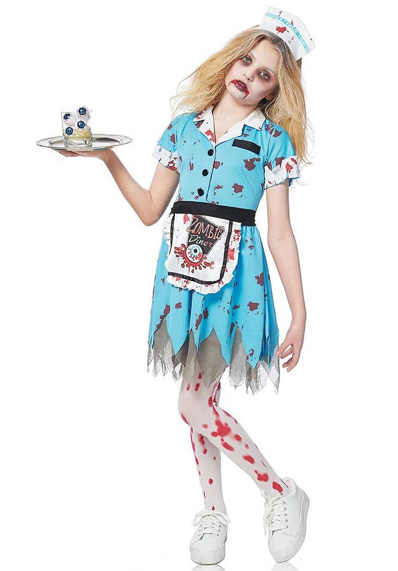 Girls Zombie Waitress Costume Front View  sc 1 st  Heaven Costumes & Girls Zombie Waitress Halloween Costume | Kids Zombie Costume