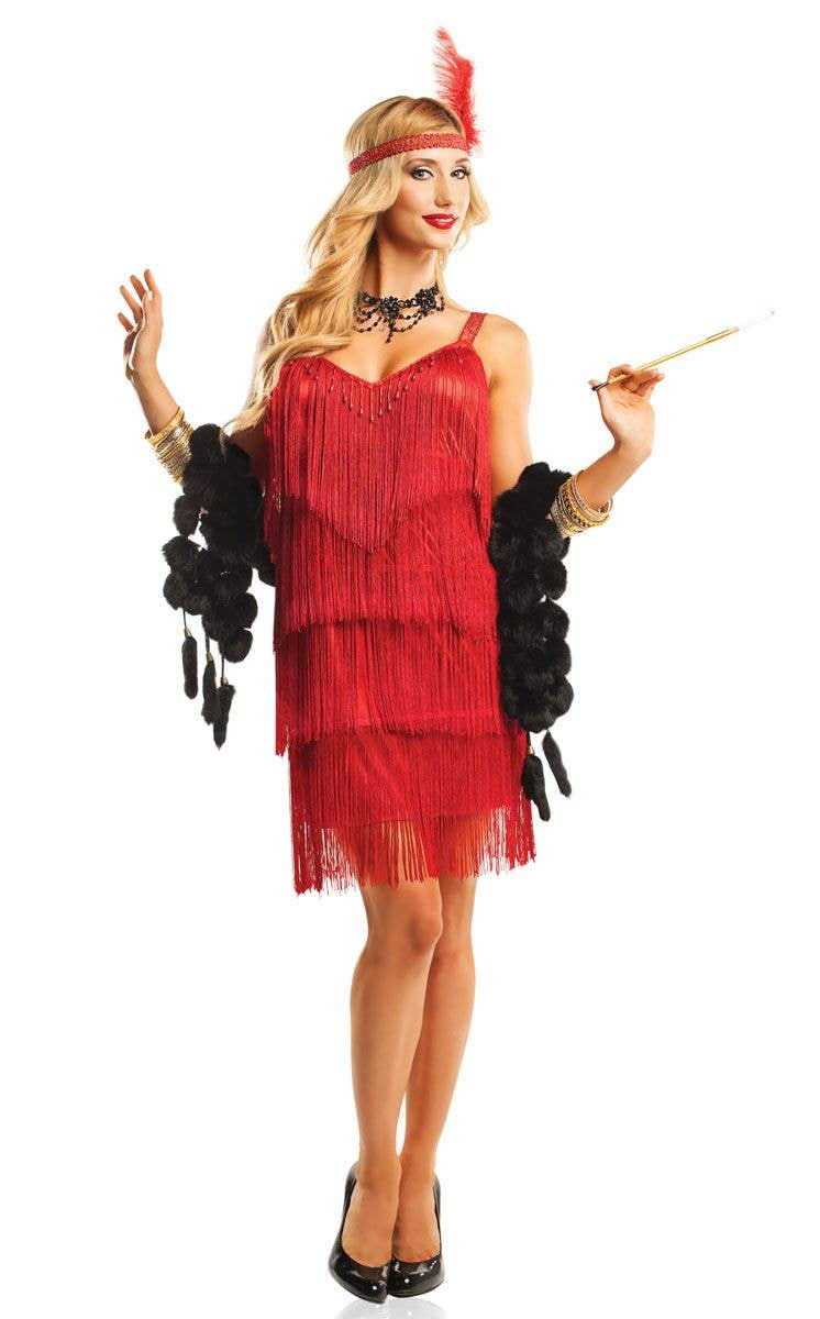7e25981d01c Women s Red Great Gatsby Flapper Fancy Dress Costume Front