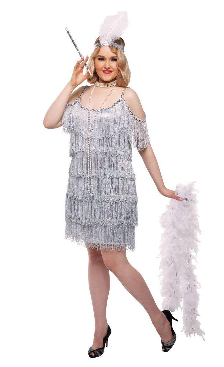 Martini Flapper Silver Plus Size Women\'s Costume