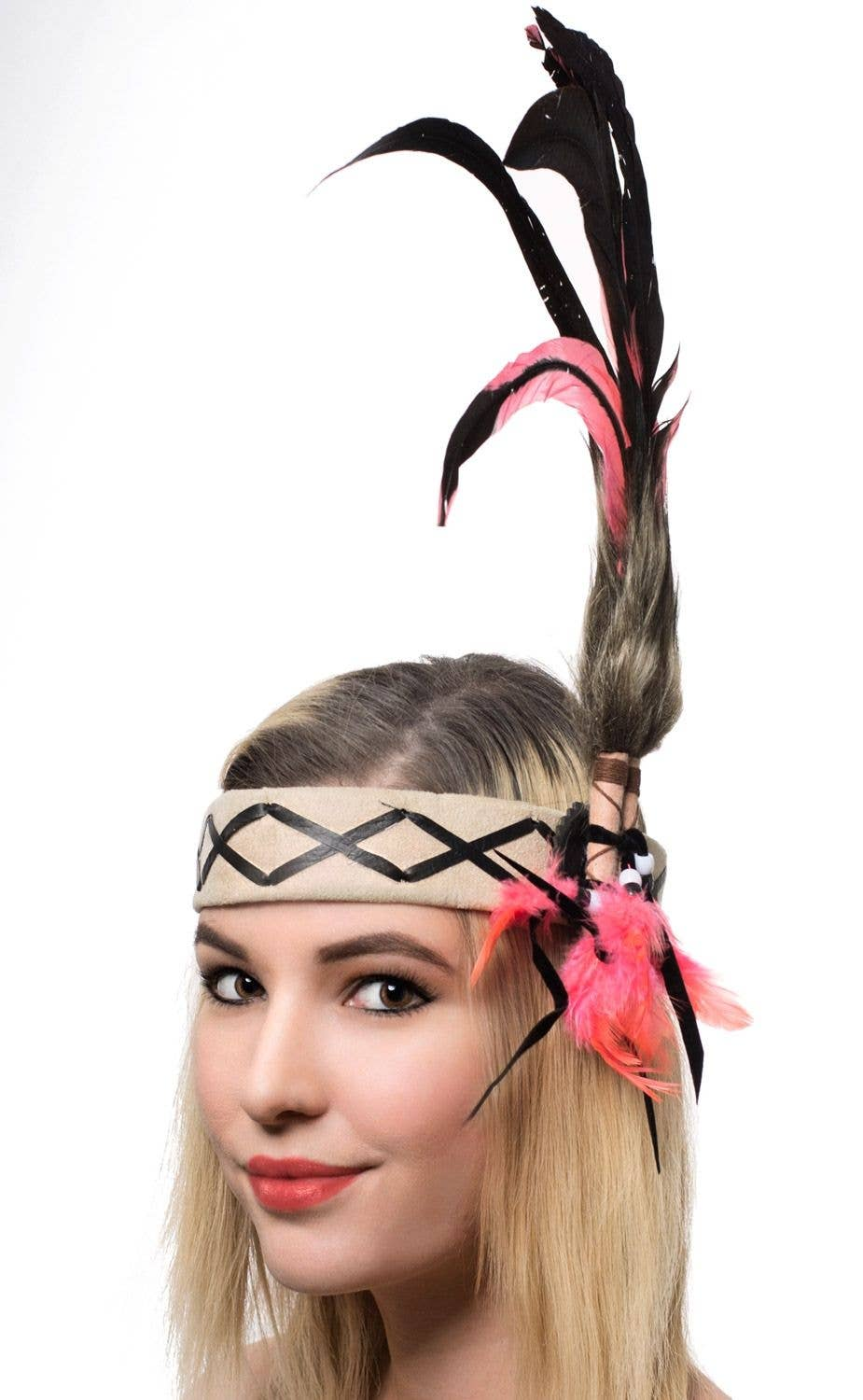 Deluxe Native American Indian Black and Pink Feather Headband Main Image 528ab57eba1