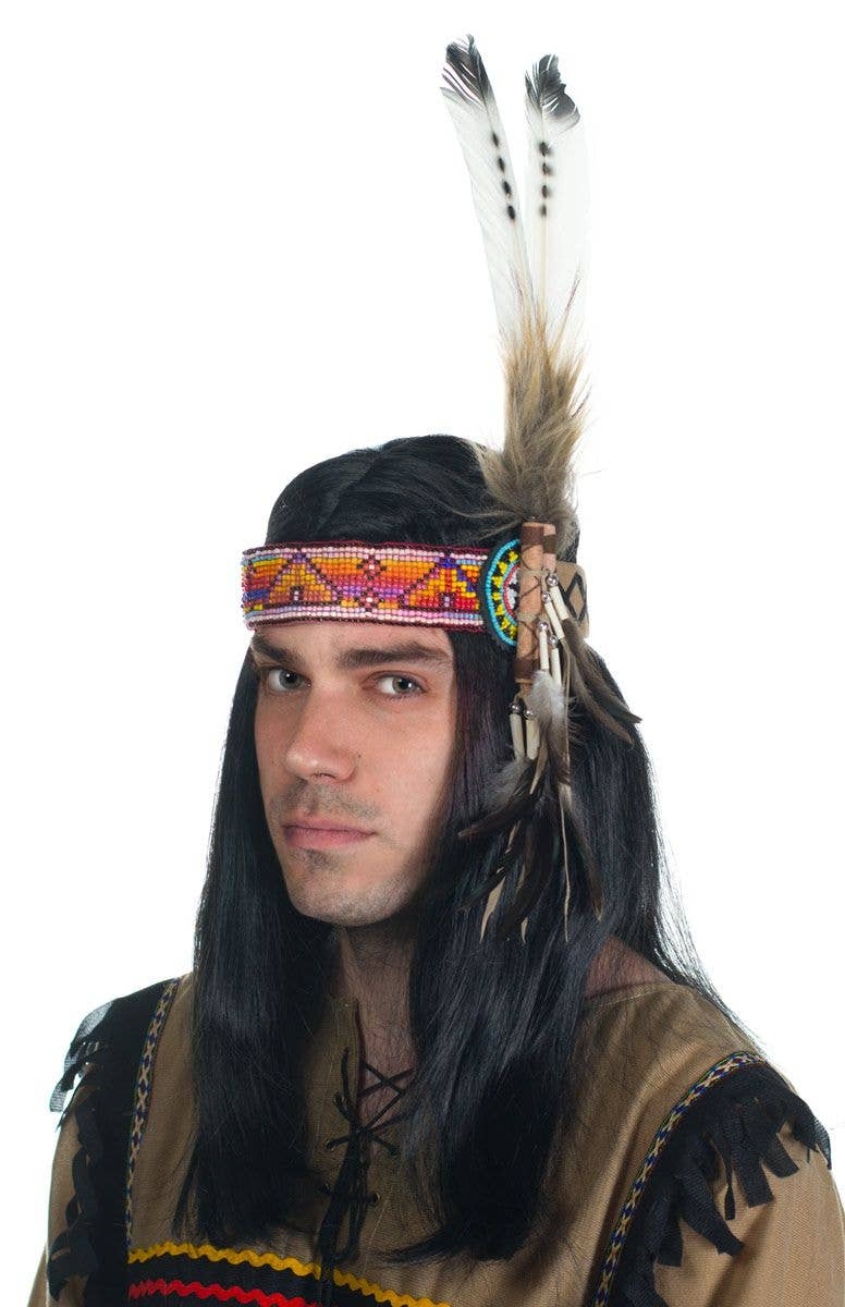 American Indian Feather Headband with Beads 1809d8f62d3