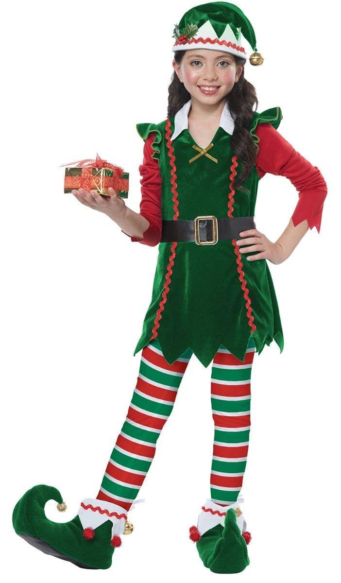 Christmas Fancy Dress.Festive Elf Girl S Christmas Fancy Dress Costume