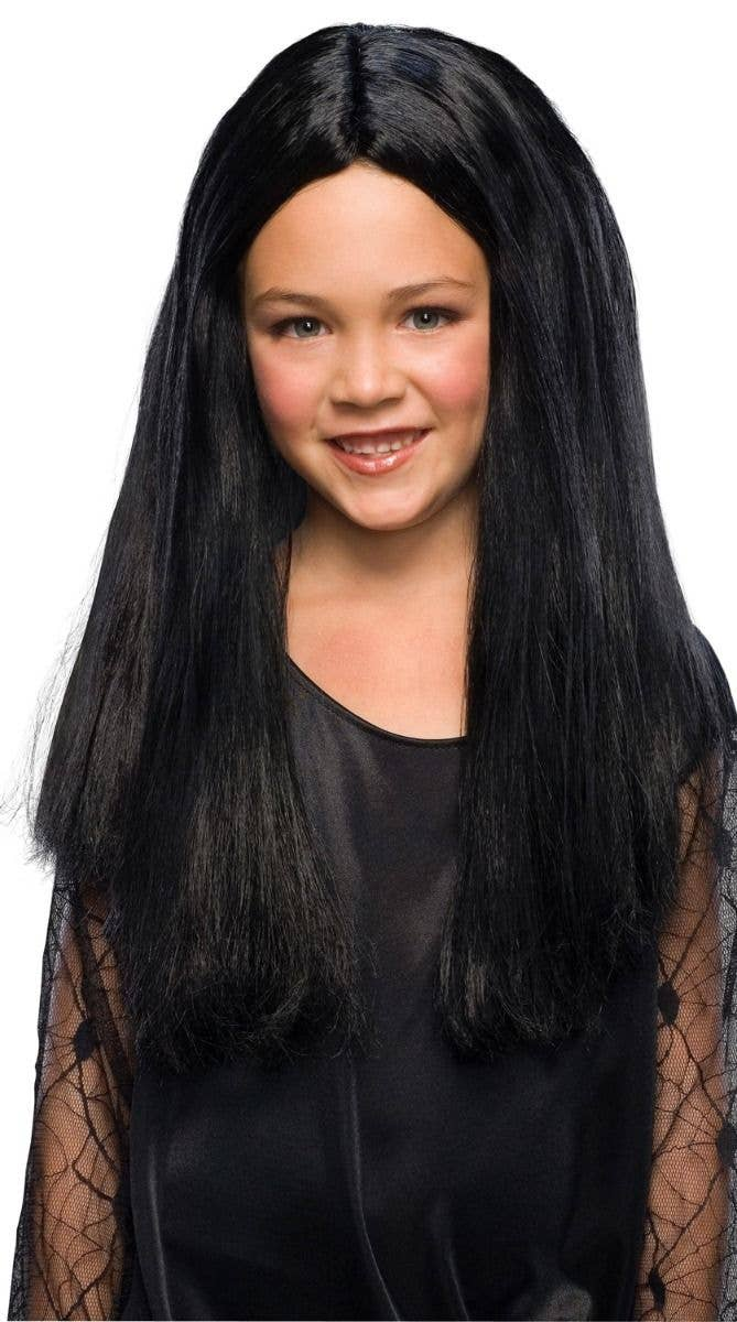Morticia Addams Kids Costume Wig Halloween Long Black Girls Wig