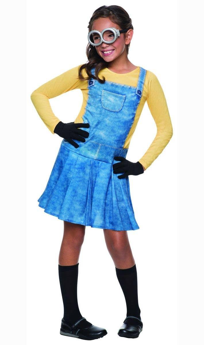 Girls Minion Movie Yellow Minion Fancy Dress Costume Main Image  sc 1 st  Heaven Costumes & Minion Movie Girls Costume | Girls Yellow Minion Fancy Dress Costume