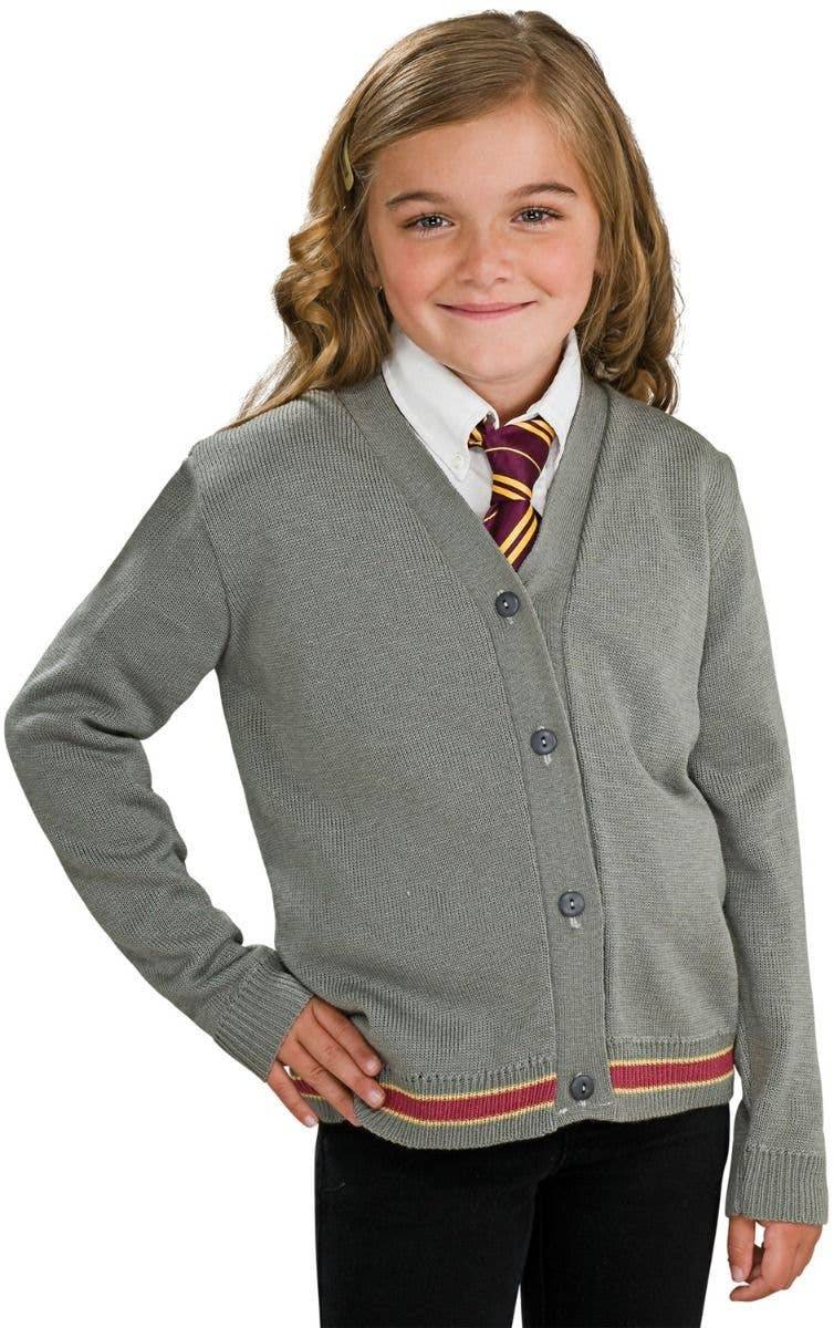 ef52732cc69 Girl s Grey Knitted Harry Potter Hermione Granger Cpstume Sweater Jumper  With Buttons Fancy Dress Costume Main