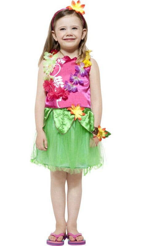 Girlu0027s Pink and Green Hawaiian Costume Front View  sc 1 st  Heaven Costumes & Girls Costumes | Hula Girls Hawaiian Costume | Kids Costume