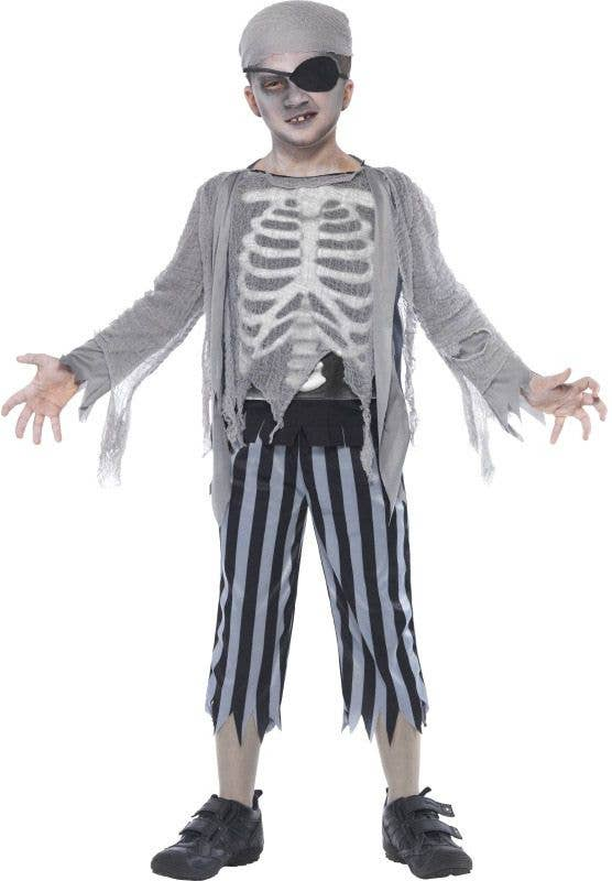 Boyu0027s Ghost Pirate Grey Skeleton Halloween Costume Front  sc 1 st  Heaven Costumes & Kids Halloween Pirate Costume | Ghostship Pirate Boys Costume