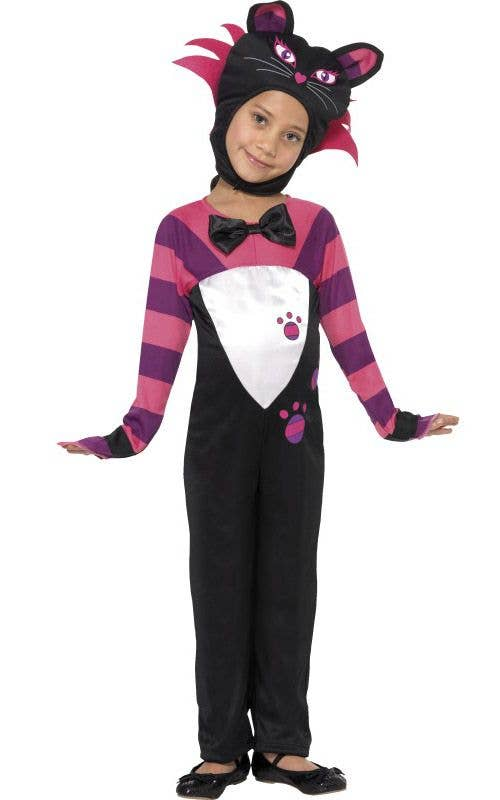 Girlu0027s Cheshire Cat Animal Costume Front View  sc 1 st  Heaven Costumes & Tabby Cat Girls Costume | Cheshire Cat Kids Book Week Costume