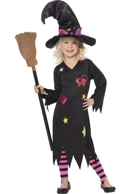 4ec3e3fb399 Cinder Witch Girls Costume | Black Witch Kids Halloween Costume