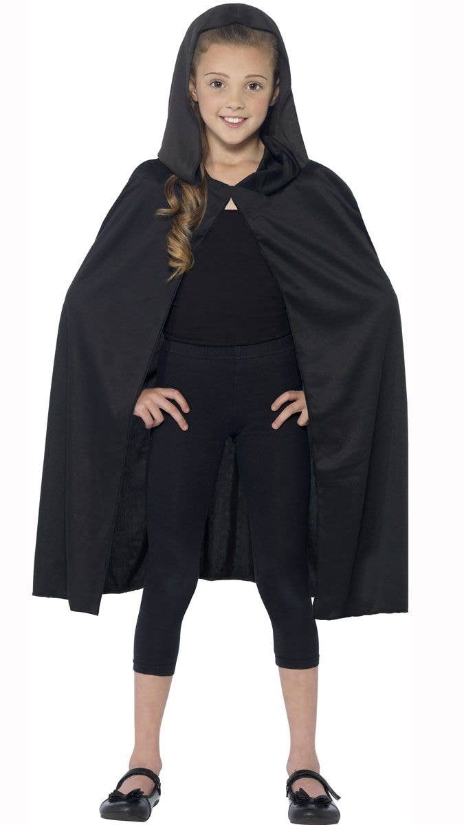 c4946c52c1 Kids Black Hooded Costume Cape Alternative Image