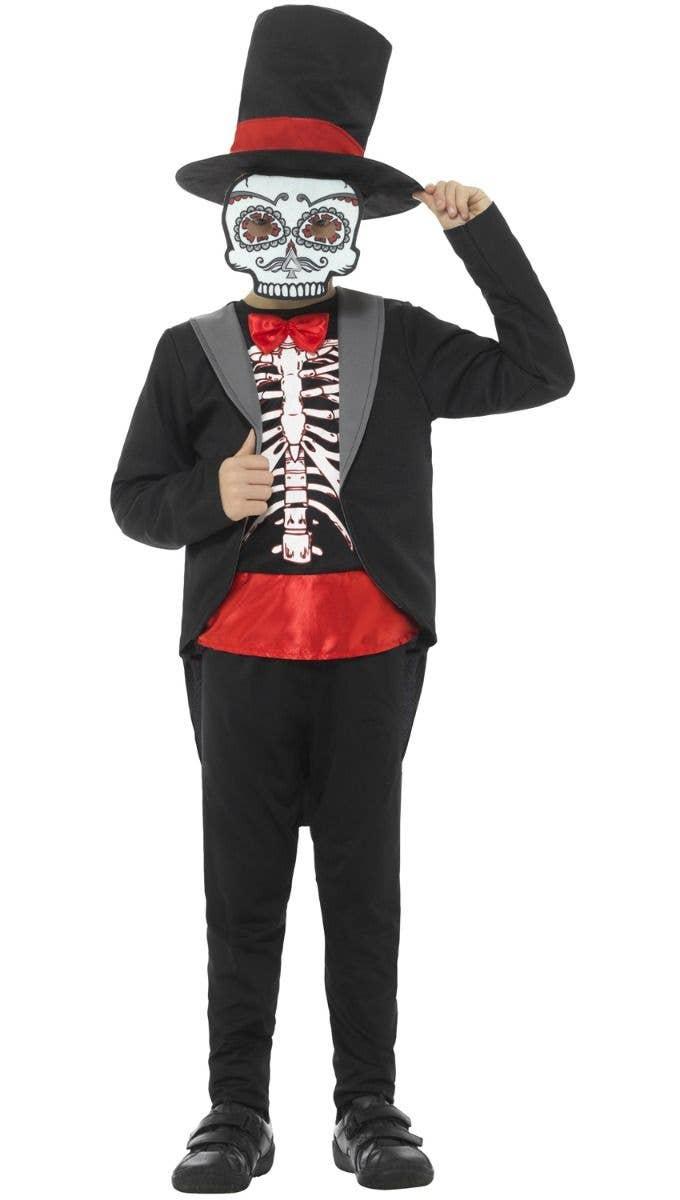 7a213334c2c Boy s Halloween Day Of The Dead Sugar Skull Kid s Black Tuxedo Skeleton Fancy  Dress Costume Main