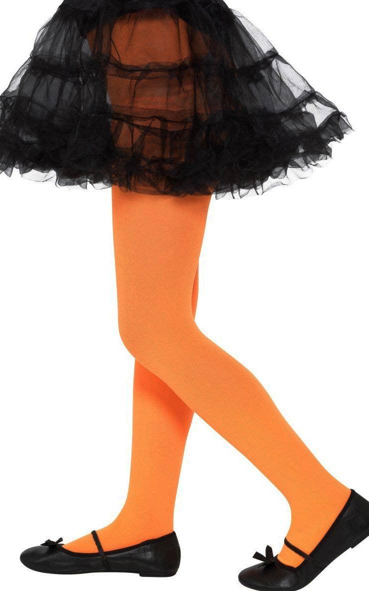 girls orange opaque full length tights | children's orange stockings
