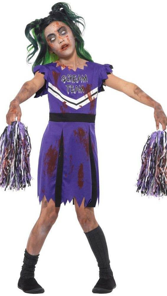 Zombie Cheerleader Halloween Costume For Girls.Girls Zombie Cheerleader Costume Kids Purple Cheerleader Costume