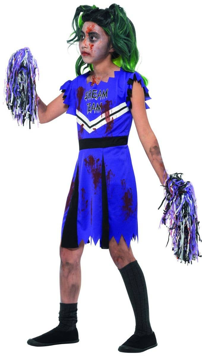 cc6dc2531 Girls Purple Zombie Cheerleader Halloween Fancy Dress Costume Side Image