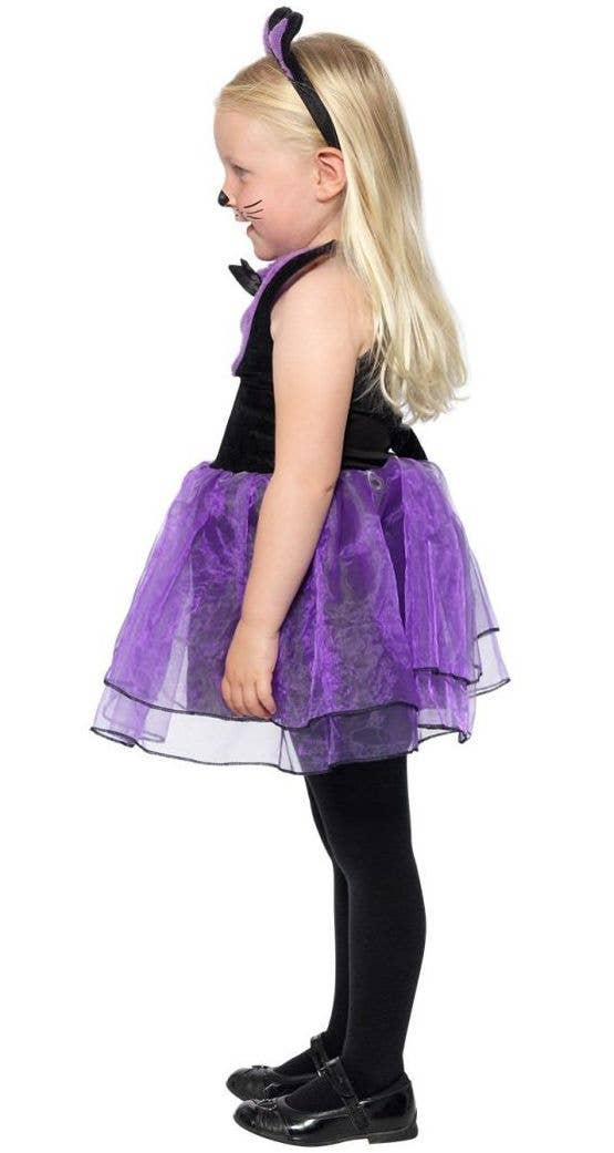 918c4e0d307 Toddler Girls Cute Purple and Black Cat Halloween Costume Side Image