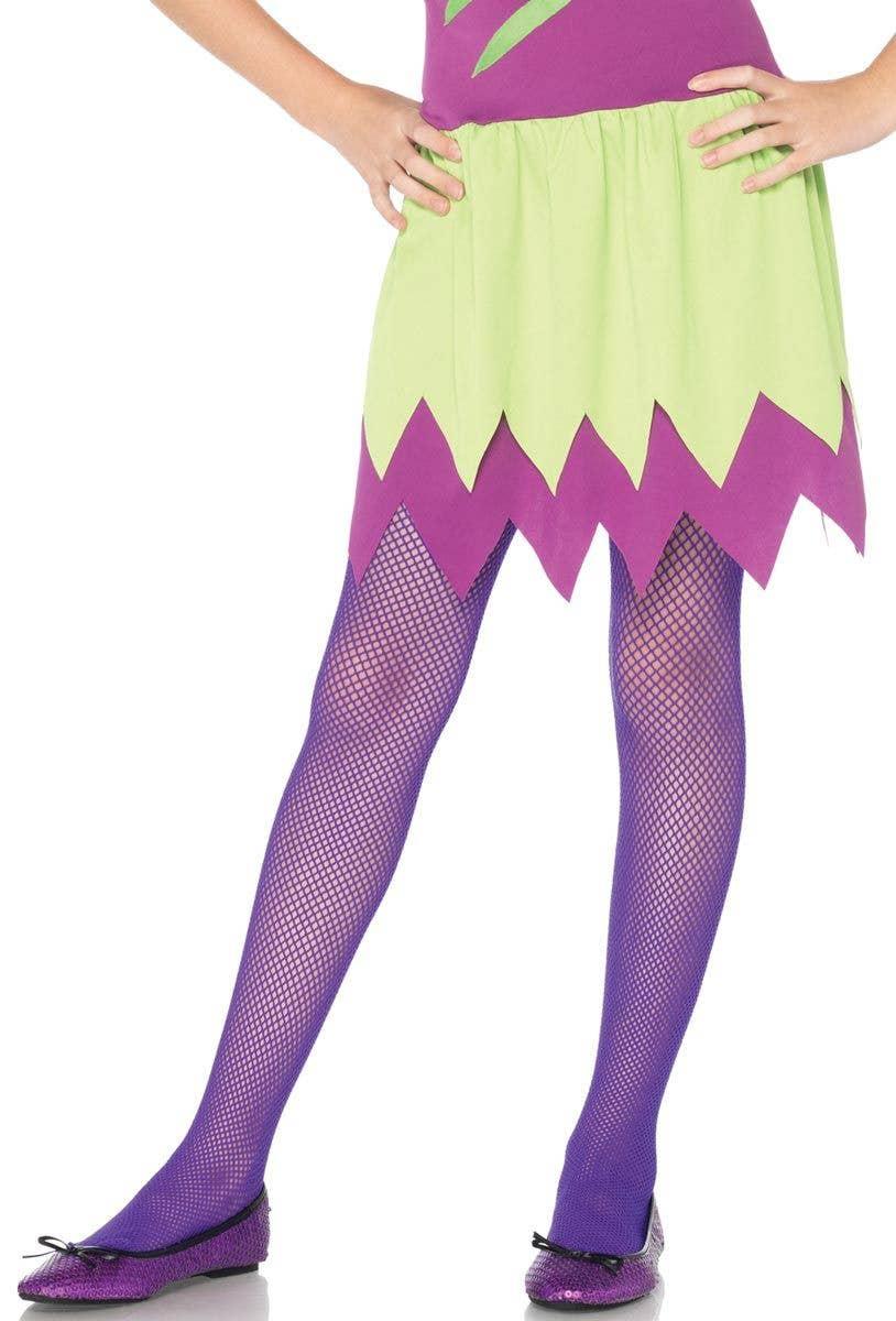 d82b3fe046cac Purple Fishnet Girls Stockings | Purple Fishnet Kids Costume Tights