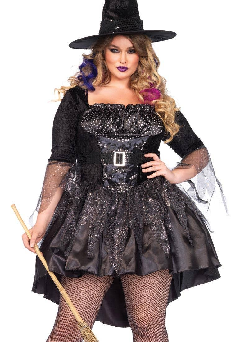 plus size black witch womens halloween costume close