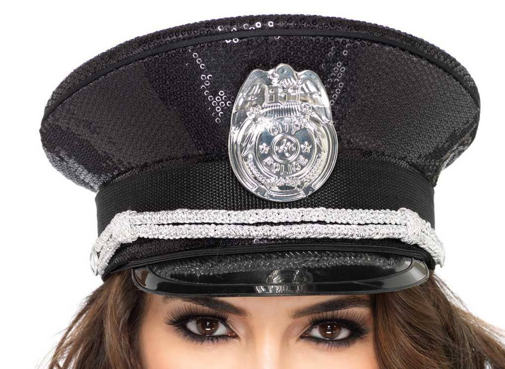 Womenu0027s Sequined Black Police Officer Costume Hat Close View ...  sc 1 st  Heaven Costumes & Police Officer Sequined Black Hat | Black Deluxe Cop Costume Hat