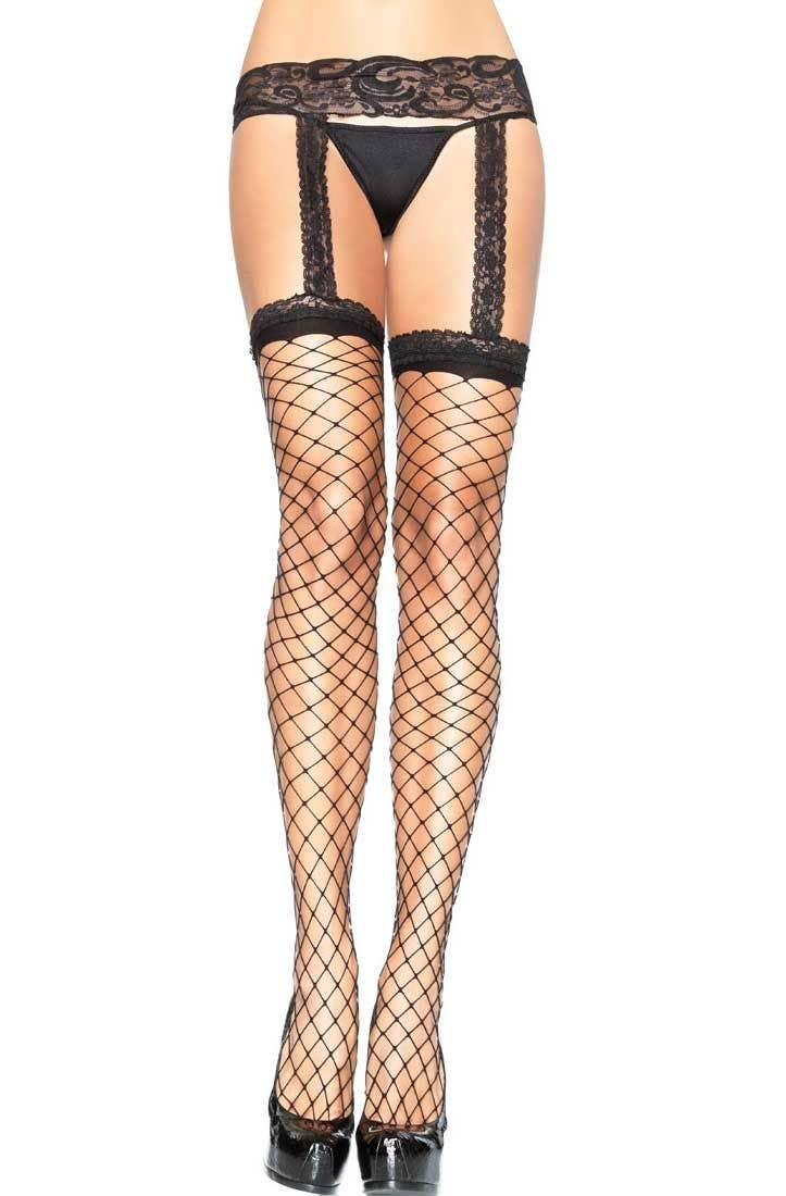 6d1766fab867b Lace Top Black Fence Net Stockings | Black Net Stockings with Garter