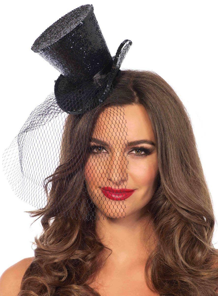 Women s Mini Black Top Hat with Glitter Costume Accessory af674af31bc