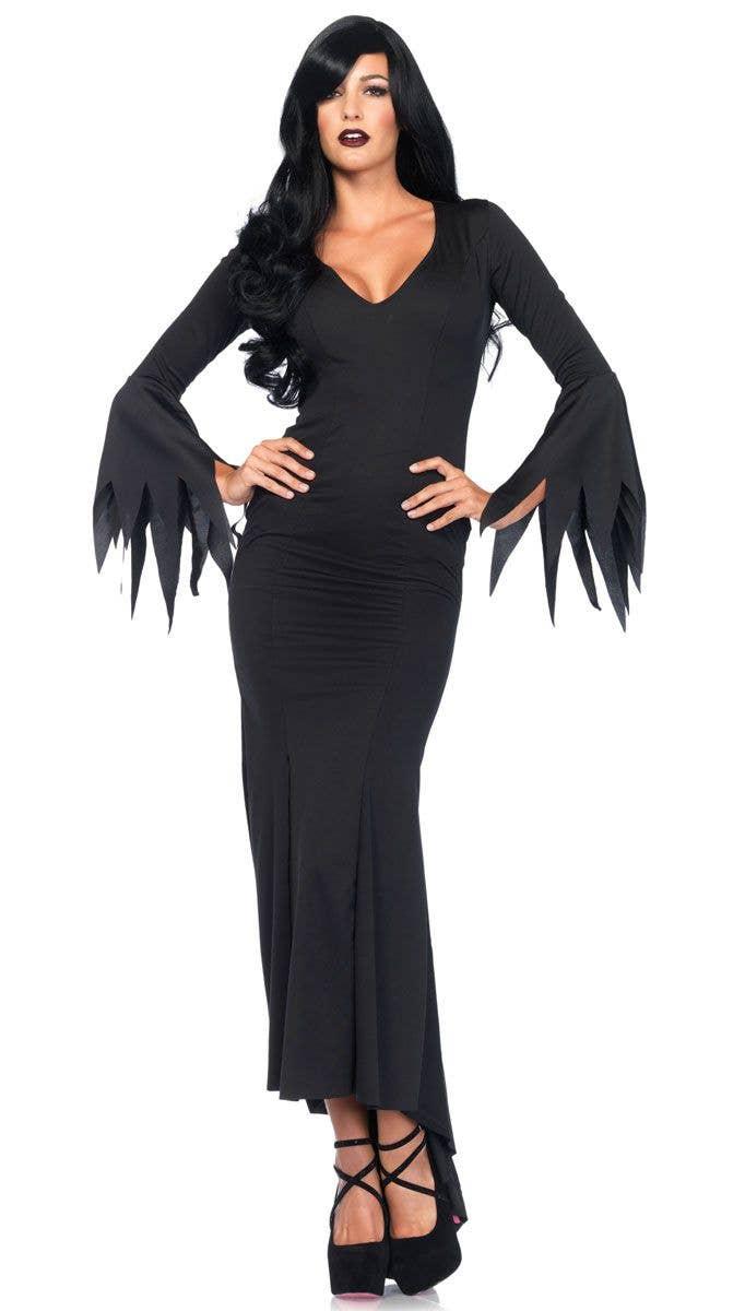 gothic vampire women 39 s costume moritcia addams halloween costume. Black Bedroom Furniture Sets. Home Design Ideas