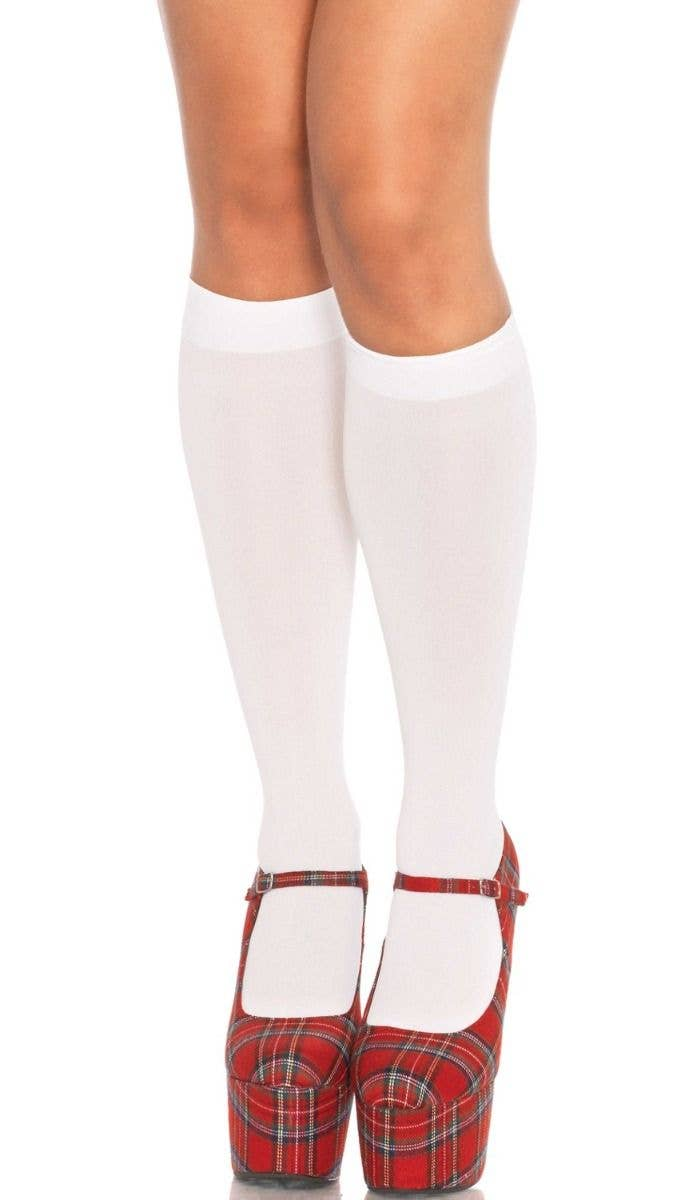 1f6abfebf Basic White Opaque Knee High Women's Stockings Front Image