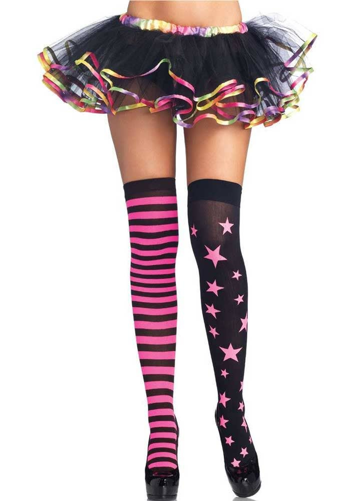 331e1037f31 Neon Pink Stars and Stripes Thigh High Stockings Front View