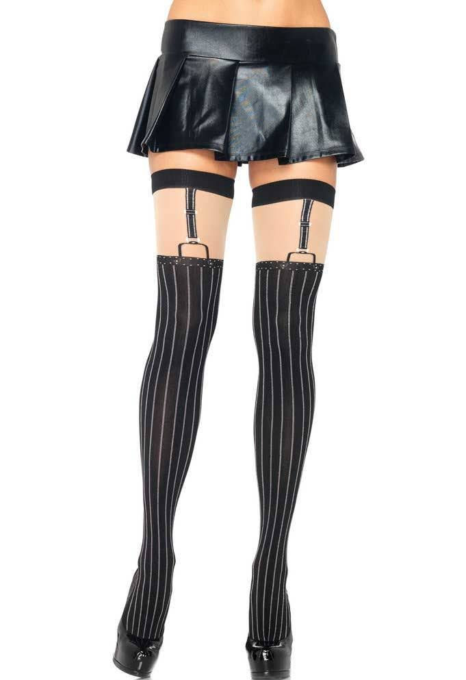 d3147333d Suspender Look Black Thigh High Costume Stockings