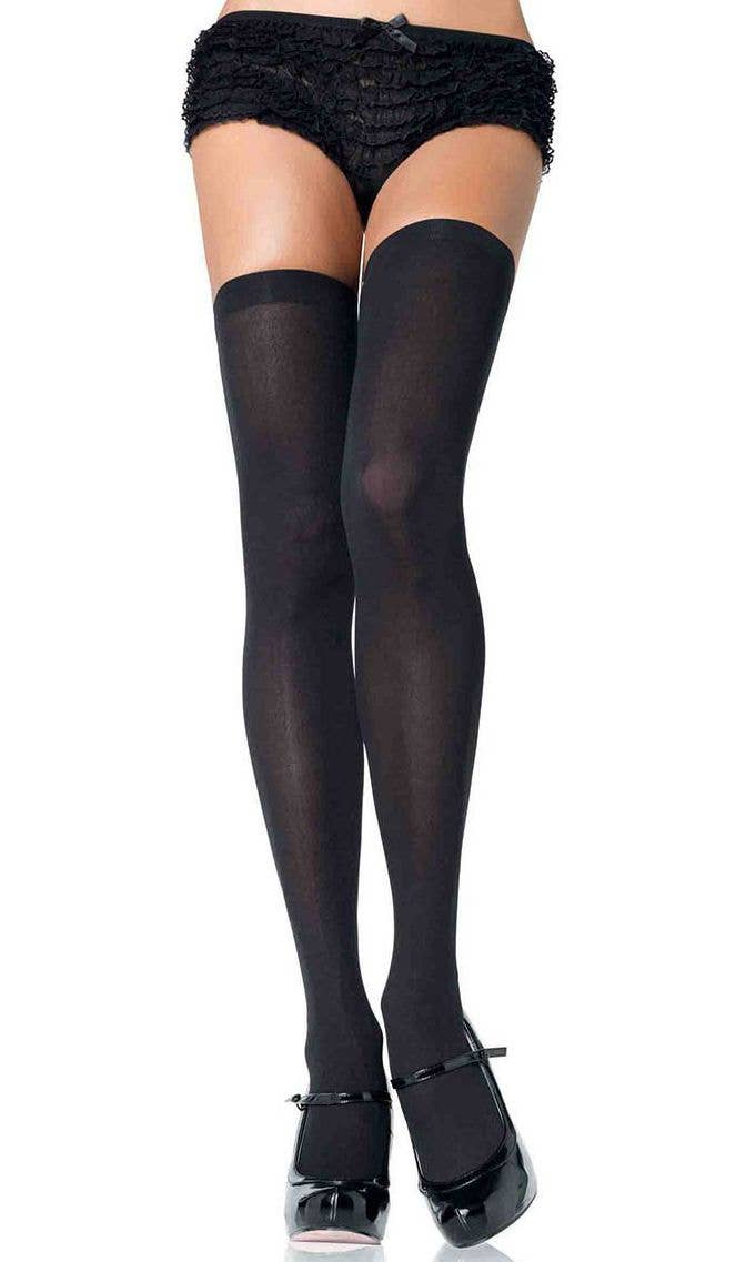 2c53ea1bcd76e Black Opaque Women's Thigh High Stockings | Costume Hosiery