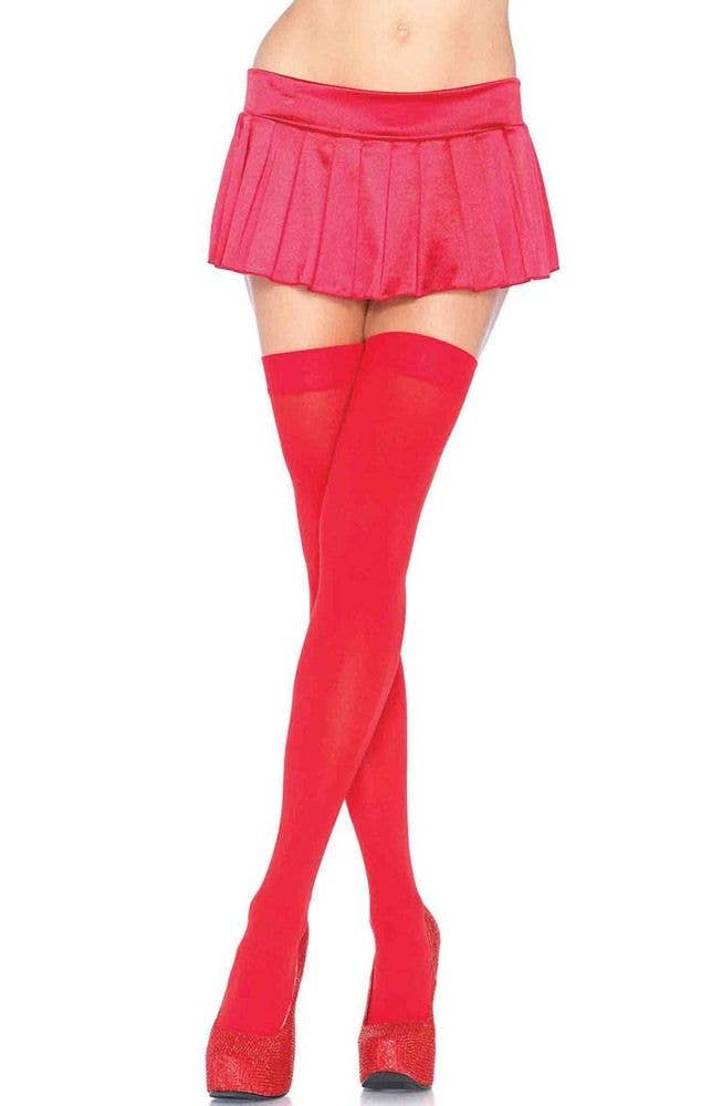466ece17e61 Women s Sexy Bright Red Thigh High Costume Stockings