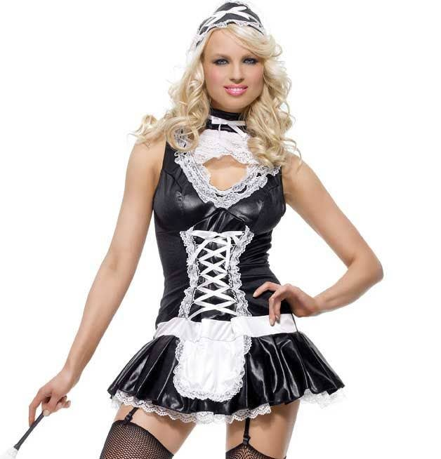 0a77fd52e Sexy Women s Wet Look French Maid Costume Close