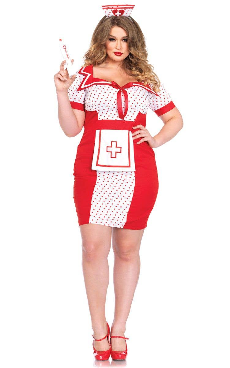 Sexy Plus Size Naughty Nurse Costume For Women Front Image  sc 1 st  Heaven Costumes & Sexy Retro Plus Size Nurse Costume | Naughty Nurse Plus Size Outfit