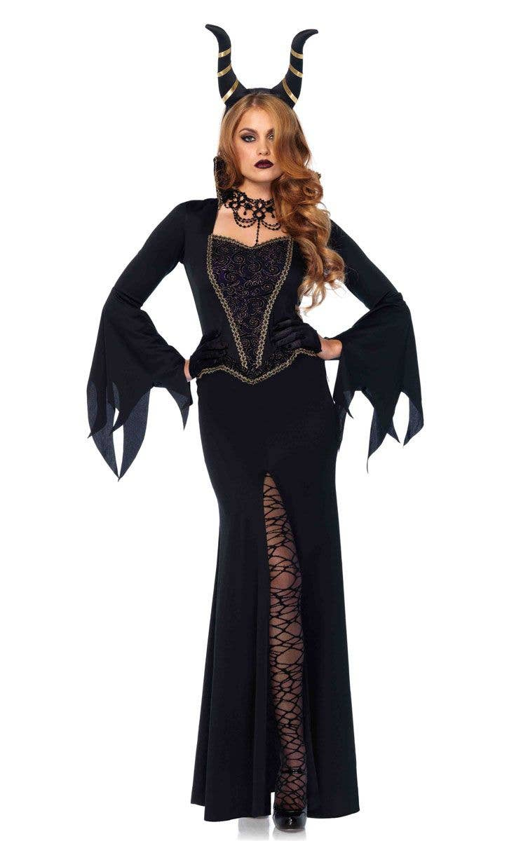 Deluxe Womenu0027s Maleficent Halloween Costume Main Image  sc 1 st  Heaven Costumes : evil halloween costume  - Germanpascual.Com