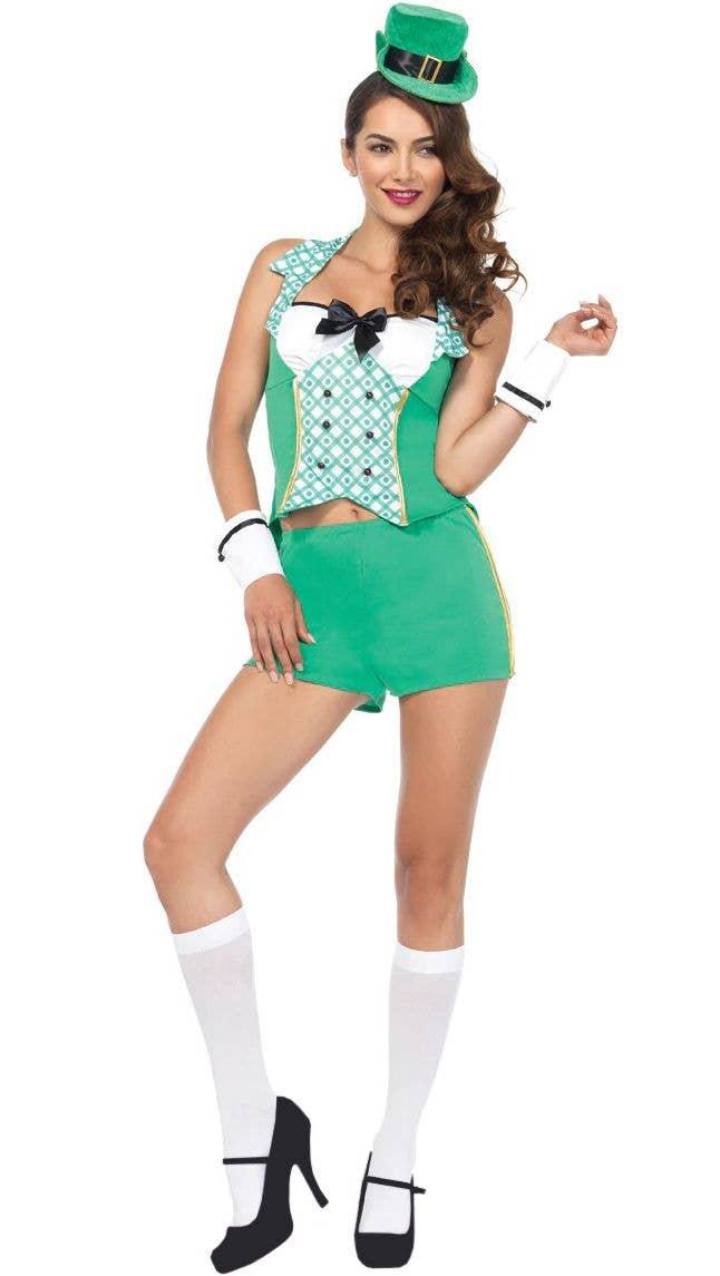 8f8a11688 Sexy Women's Darling Leprechaun St Patricks Day Irish Costume Front View