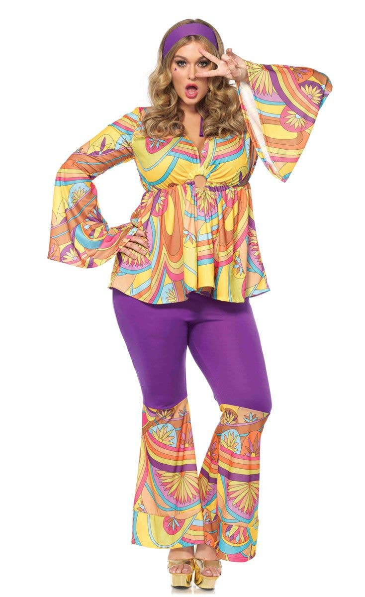 045ca92757 Plus Size Hippie Women s 1960 s Costume Main Image