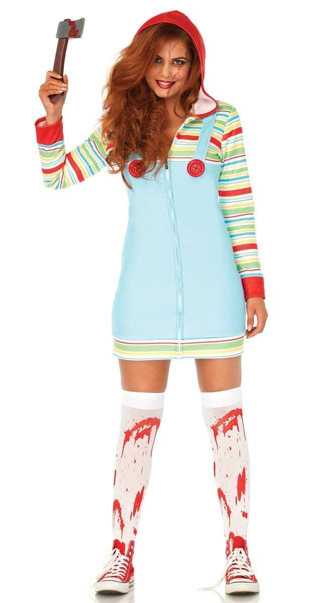 Womenu0027s Cozy Killer Doll Chucky Halloween Costume Front View  sc 1 st  Heaven Costumes & Cozy Killer Doll Womenu0027s Costume   Chucky Womenu0027s Halloween Costume