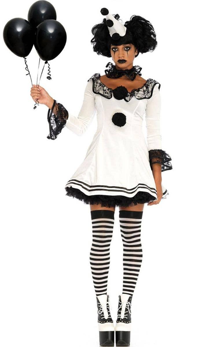 e4676ae9e9c5a Pierrot Clown Sexy Women's Halloween Fancy Dress Costume Main Image