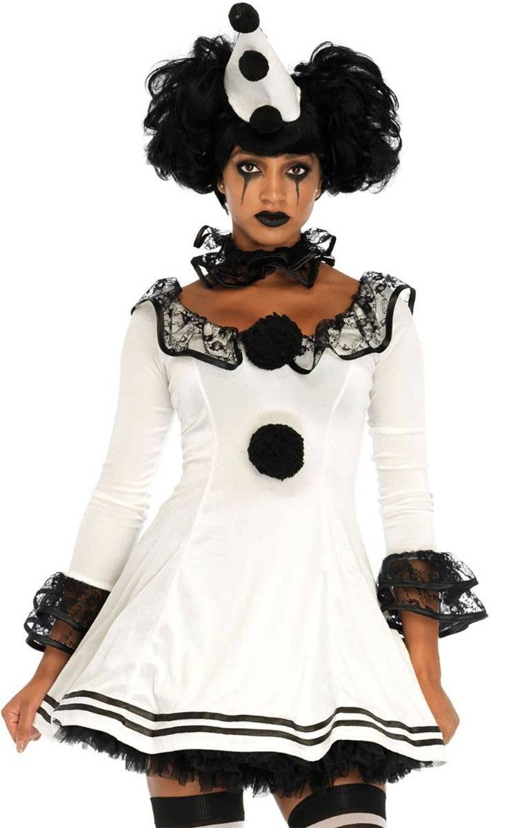 46b3d8bcebcce Kostüme Kostüme & Verkleidungen Scary Pierrot Theatrical Black White Clown  Costume Halloween Fancy Dress