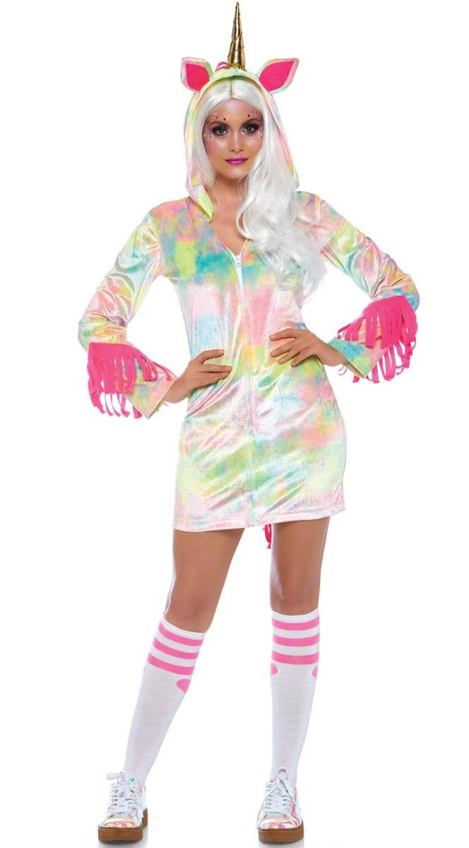 6df40f6c43495 Women's Cozy Rainbow Enchanted Unicorn Fancy Dress Costume Front Image