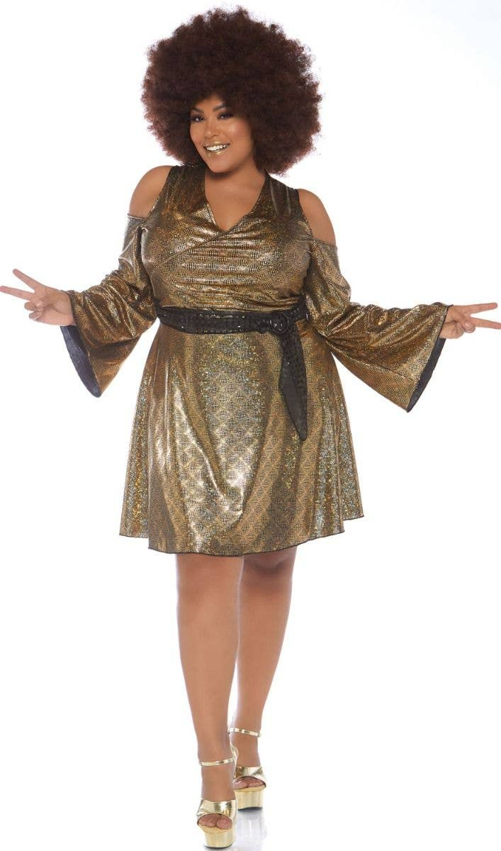 da03a9c49bd Plus Size Women s 1970 s Disco Doll Fancy Dress Costume Front Image