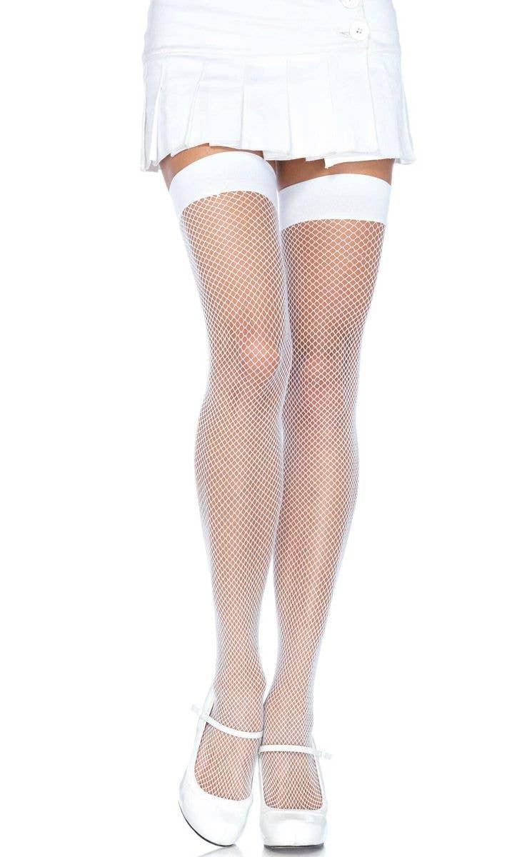 53dfdf007f018 Leg Avenue Ladies Fish Net Stay Up Thigh High Nylon Stockings in White